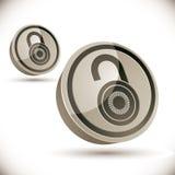 Fermez à clef l'icône 3d sur le fond blanc Photographie stock libre de droits