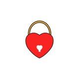 Fermez à clef l'icône solide en forme de coeur, valentines de signe d'amour Images libres de droits