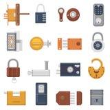 Fermez à clef le cadenas de vecteur avec le trou de la serrure pour la protection et sécurité fermant à clef le système avec le m Illustration Stock