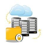 fermez à clef le centre de traitement des données archivé de dossiers connexe Image stock