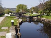 Fermez à clef sur le canal de Rochdale près de Walsden photo libre de droits