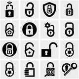 Fermez à clef les icônes de vecteur réglées sur le gris. Images stock