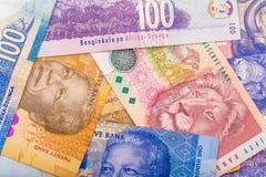 Fermez de la devise sud-africaine le couche-point image stock