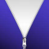 Fermez la fermeture éclair la fermeture au-dessus de l'illustration blanche et bleue de fond Images stock
