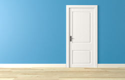Fermez la porte en bois blanche sur le mur bleu, plancher en bois blanc Photos stock
