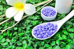 Fermez vers le haut des beaucoup le comprimé pourpre de médecine sur la cuillère avec la fleur blanche et la branche d'arbre sèch Image stock