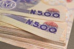 Fermez vers le haut du Nigerian cinq cents notes de naira photo libre de droits