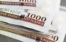 Fermez vers le haut du Nigerian mille notes de naira Photographie stock