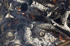 Fermez-vous d'un feu de mort avec des flammes et des braises photos libres de droits