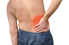 Fermez-vous d'un homme supérieur tenant le sien de retour en douleur, pH Photo libre de droits