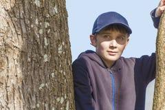 Fermez-vous d'un jeune garçon dans un arbre photos stock