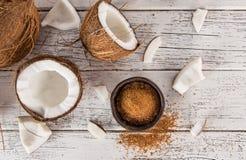 Fermez-vous d'un sucre de noix de coco Image stock