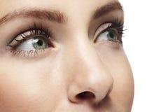Fermez-vous d'une belle des yeux verts jeune femme Image libre de droits