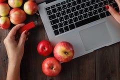 Fermez-vous d'une main de femme branchant pendrive rouge sur un ordinateur portable Photographie stock