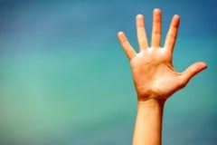 Fermez-vous d'une main ouverte Photographie stock libre de droits