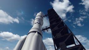Fermez-vous d'une navette de fusée d'espace Image libre de droits