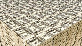 Fermez-vous d'une pile énorme du dollar illustration de vecteur