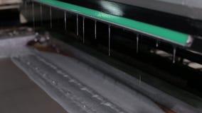 Fermez-vous d'une presse typographique industrielle a fini de mettre la peinture argentée banque de vidéos