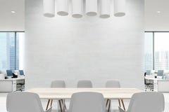 Fermez-vous d'une table de salle de conférence, blanc illustration de vecteur