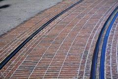 Fermez-vous d'une voie légère de tram Image stock