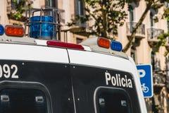 Fermez-vous dans un fourgon de police espagnol Photo libre de droits
