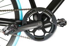 Fermez-vous de chainring et de pédales de crankset de vélo Images libres de droits