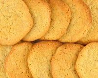 Fermez-vous de deux rangées des biscuits faits maison de beurre d'arachide photo stock