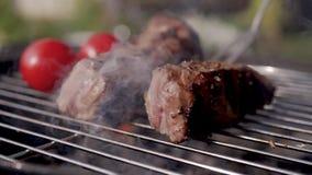 Fermez-vous de faire cuire des nervures de porc sur le barbecue de gril clips vidéos