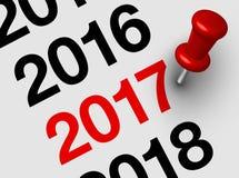 Fermez-vous de janvier 2017 sur le calendrier de journal intime Photo libre de droits