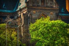 Fermez-vous de l'église de Namesti Miru image stock