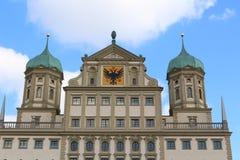 Fermez-vous de l'architecture de la Renaissance du townhall à Augsbourg, Allemagne photo libre de droits