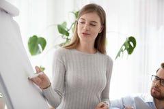 Fermez-vous de l'aspiration femelle de haut-parleur sur le flipchart faisant la présentation images stock