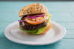 Fermez-vous de l'hamburger dans le plat Photo libre de droits