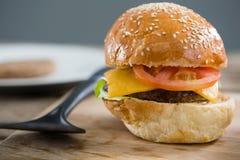 Fermez-vous de l'hamburger de fromage Photos libres de droits