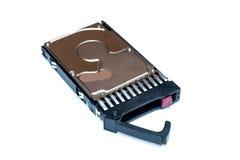 Fermez-vous de l'unité de disques chaude d'ordinateur de la prise SAS HDD dans le plateau d'isolement Photo stock