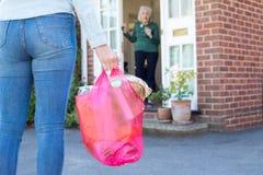 Fermez-vous de la femme faisant des achats pour le voisin supérieur photo stock