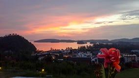 Fermez-vous de la fleur rouge avec la vue de panorama de la baie de nang d'ao, le krabi, Thaïlande au crépuscule Photographie stock libre de droits