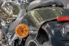 Fermez-vous de la lumière arrière de moto, photo d'intérieur Photographie stock libre de droits