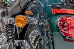 Fermez-vous de la lumière arrière de moto, photo d'intérieur Image stock