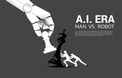 Fermez-vous de la main de robot essayent de faire échec et mat le jeu d'échecs d'humain illustration de vecteur