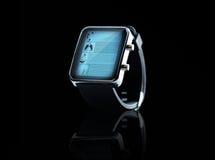 Fermez-vous de la montre intelligente noire Images stock