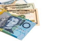 Fermez-vous de la note de devise du dollar australien contre le dollar US Photos stock