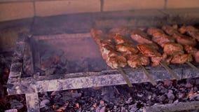 Fermez-vous de la nourriture grillant sur le barbecue banque de vidéos
