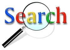 Fermez-vous de la page d'accueil de recherche de Google et le curseur sur l'?cran Google est des mondes illustration libre de droits
