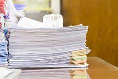 Fermez-vous de la pile de documents d'entreprise Photo libre de droits