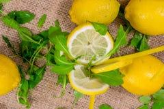 Fermez-vous de quatre citrons et citrons coupés en tranches avec de la salade verte sur une toile Image libre de droits