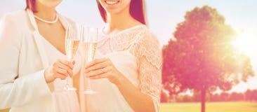Fermez-vous des ajouter lesbiens aux verres de champagne Photos libres de droits