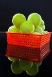 Fermez-vous des balles de tennis dans le panier en plastique rouge avec la réflexion photo stock