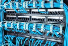 Fermez-vous des câbles bleus d'Internet de réseau reliés au routeur Image stock