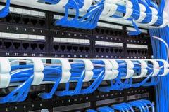 Fermez-vous des câbles bleus de réseau reliés au tableau de connexions Photos libres de droits